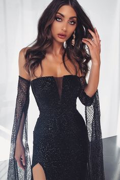 Jocelina - Black Glitter Gown with Long Sheer Sleeves and Side Slit – A&N Luxe Label Source by liadorheme luxe label dresses Elegant Dresses, Pretty Dresses, Beautiful Dresses, Belted Dress, The Dress, Textiles Y Moda, Cape Gown, Knot Dress, Prom Dresses