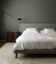 Benjamin Moore Chelsea Gray A Big, Cozy Bedroom Update Bedroom Paint Colors, Bedroom Updates, Cozy Bedroom, Trendy Living Rooms, Bedroom Paint, Chelsea Gray, Bedroom Colors, Bedroom Color Schemes, Trendy Bedroom