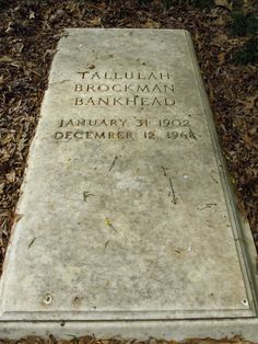 #Tallulah Brockman Bankhead, Stage & Screen Actress, 31 Jan 1902 - 12 Dec 1968. Died of complications from emphysema, at 65 years ( a heavy smoker, drinker & drug user)