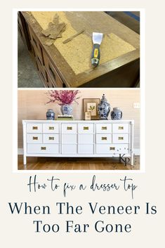 How To Fix A Dresser With Wood Veneer That Is Too Far Gone Wood Edging, Cell Phone Picture, Beautiful Swan, Do It Yourself Inspiration, Dresser Top, Gloss Paint, Selling Furniture, Faux Bamboo, Particle Board