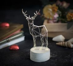 Baligam Shop - מנורת לילה Deer - אפור / לבן