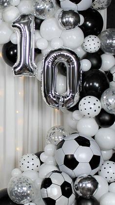 Balloon Arch, Balloon Garland, Balloon Decorations, Happy Birthday Me, Boy Birthday, Cinderella Decorations, Soccer Banquet, Soccer Birthday Parties, Letter Balloons