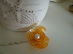 Orange Shell Flower Bobby Pin with Pearl Center by lorisartstudio, $7.00
