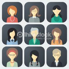 Vector Art : Female Faces Icons Set