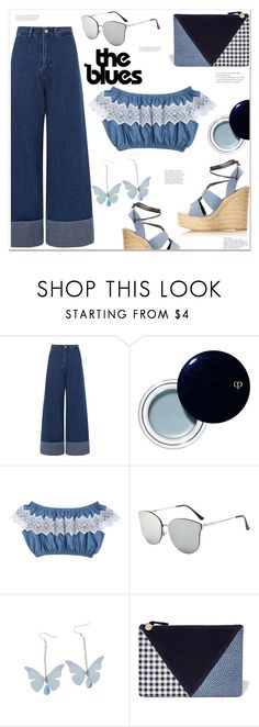 """the blues"" by mycherryblossom ❤ liked on Polyvore featuring Sea, New York, Clé de Peau Beauté, Clare V. and Yves Saint Laurent"