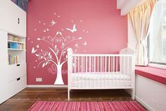 Nursery wall decal with butterfly fairy decals vinyl baby wall decal nursery tree decal branch decal-DK104