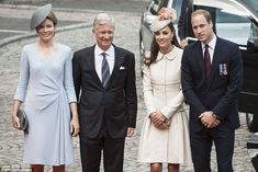 8/4/14.  Remembering the fallen: Queen Mathilde and King Philippe of Belgium pose with the Duchess and Duke of Cambridge in Liege today ahead of a commemoration service