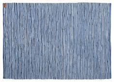 CHINDI ragrug made from up cycled materials from the fashion industry. Blue - white and black striped. Hand woven and quality controlled. Giving excess materials a second chance at making a difference.