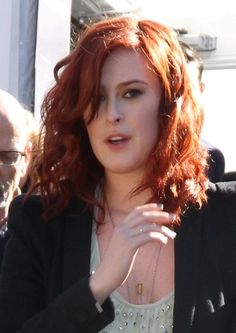 Rumer Willis vibrant, red hairstyle