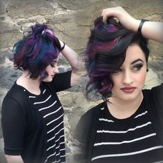 Galaxy hair of teal, pink and blue! Stylist: Heather Snyder