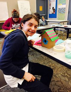 Birdhouse that will light up with LEDs and circuits at Rockwood Library.