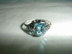 edwardian sterling silver ring blue topaz by qualityvintagejewels, $125.00