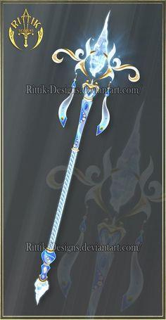Staffs and wands by Rittik-Designs on DeviantArt Dessin Animé Lolirock, Arctic Wind, Armas Ninja, Elemental Magic, Sword Design, Anime Weapons, Magical Jewelry, Weapon Concept Art, Magic Art