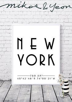 New York prints City coordinates New York coordinates City New York, City, Prints, Handmade, Vintage, New York City, Hand Made, Cities, Vintage Comics