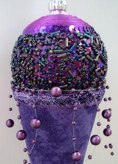 Purple Beaded Ice Cream Cone Ornament by ViennaSparkleWreaths on Etsy