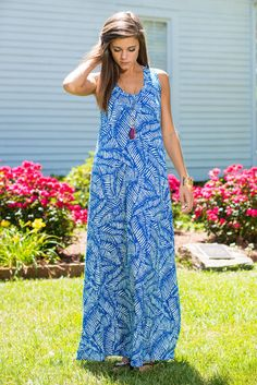 Try And Keep Palm Maxi Dress, Blue