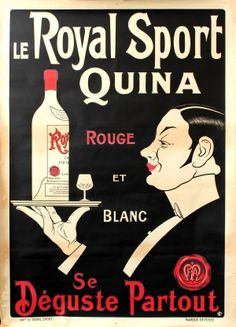 Quina Le Royal Sport 1920s - original vintage drink advertising poster listed on AntikBar.co.uk