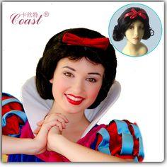 Snow White chúa cosplay tóc giả màu đen xoăn nữ hoàng tóc sản phẩm công chúa ngắn Halloween Wigs Costume Đảng Phụ nữ tóc QY-CW001
