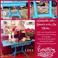A darling little table, furniture restyle posted at Pine Creek Style, blog, Facebook, Pinterest and Instagram