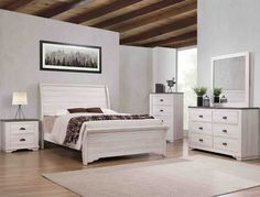 """B8130 4 pc A & J homes studio paterno chalk grey weathered finish wood queen bedroom set . This set includes the Bed, Nightstand, Dresser, and Mirror. Bed measures 90"""" x 65"""" x 55"""" H. Nightstand measures 25.6"""" x 15.8"""" x 24.6"""" H. Dresser measures 59.1"""" x 16.9"""" x 35.6"""" H. Mirror measures 40.2"""" x 1"""" x 40.2"""" H. Optional chest available at additional cost and measures 31.1"""" x 16.9"""" x 48.2"""" H. Also available in... Sleigh Bedroom Set, King Bedroom Sets, Sleigh Beds, Queen Bedroom, White Headboard, Queen Headboard, Headboard And Footboard, Mirrored Nightstand, White Nightstand"""