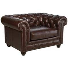 Shea Double Fudge Top-Grain Leather Armchair