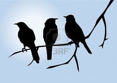 this is an original watercolor painting of a tree branch with three birds done in silhouette against a speckled blue background. this painting measures it has a white mat and a finished measurement of unframed. Vogel Silhouette, Bird Silhouette, Silhouette Projects, Silhouette Images, Three Little Birds, Three Birds, Bird Stencil, Stencil Table, Bird Poster