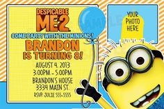 Despicable Me Minions Birthday Party Invitations UPrint 4