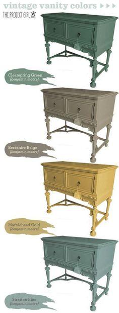 Vintage Furniture Paint Color by Benjamin Moore. Benjamin Moore Clearspring Green. Benjamin Moore Berkshire Beige. Benjamin Moore Marblehead Gold. Benjamin Moore Stratton Blue. #Furniture #Paintcolor