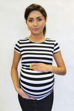 Letní těhotenské tričko s proužky bílé barvy Tops, Women, Fashion, Moda, Fashion Styles, Fashion Illustrations, Woman