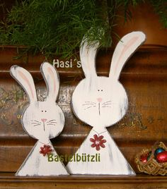 Hasen-Duo aus Holz im Shabby-Chic, w