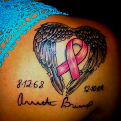 Breast cancer tattoo for my mom <3 with a Teal ribbon instead of pink to symbolize gynecological cancer