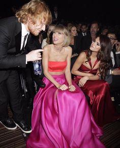 Ed Sheeran, Taylor Swift and Selena Gomez at the Grammys Awards 2016