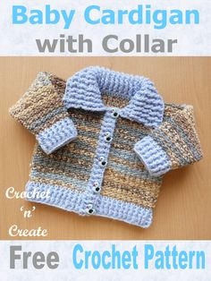 Free Baby Crochet pattern for ribbed cardigan with collar, easy diy design with a 2 row stitches pattern, written in UK format this quick to crochet sweater will make lovely baby shower gifts. Crochet For Boys, Free Crochet, Crochet Gifts, Crochet Things, Crochet Toys, Baby Patterns, Crochet Patterns, Knitting Patterns, Baby Pullover