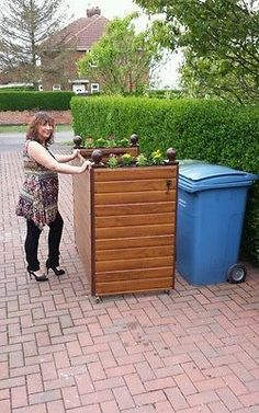 DOUBLE WHEELIE BIN COVER , ALL PLASTIC ROSEWOOD or LIGHTOAK