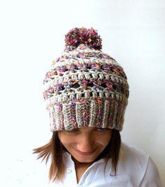 9d25dc284ef Women chunky crochet hat Big stitch hat with pom pon by elenis4you