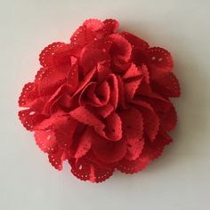 """ONE 3""""  Large Reds Eyelet Fabric Flower-Applique-hairbow supplies-diy wedding-crafts-scrapbook-headband supplies-wholesale Flowers-Bulk by BBBSupply on Etsy"""