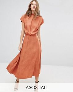 ASOS TALL High Neck Open Back Maxi in Jacquard Fabric