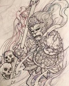 "2,588 Likes, 19 Comments - David Hoang (@davidhoangtattoo) on Instagram: ""Monkey week. #chronicink #asiantattoo #asianink #irezumi #tattoo #monkeyking #drawing #illustration…"""