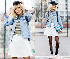 Ebba Zingmark - Lacoste Skirt, Gina Tricot Top, Old Jacket, Lacoste Cap, Adidas Shoes - ALEX