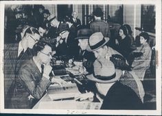 1939 Photo WW2 Era Americans Europe People Business Men Papers Table Vintage