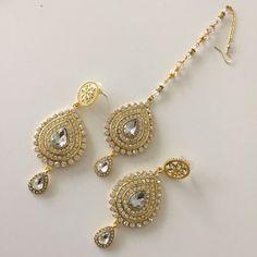 Gold Tikka earrings Hair tikka indian jewelry by MadZFashionZ Tika Jewelry, Headpiece Jewelry, India Jewelry, Jewelery, Costume Jewelry, Gold Jewelry, Indian Jewelry Sets, Indian Accessories, Bridal Accessories