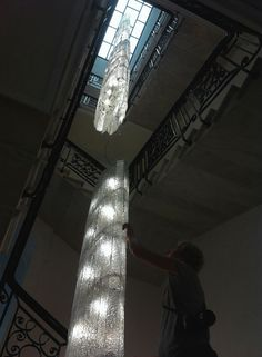 """Kitzbuehel""chandeliers in a staircase in London/ isabel hamm licht"