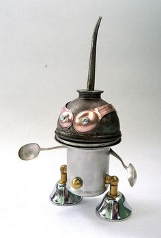 Doughboy - Found object robot assemblage sculpture