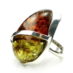 Massive Two-Colour Baltic Amber Ring - .925 Silver - Adjustable - Size S