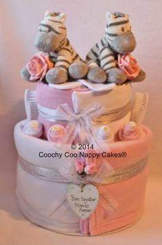 Twin baby girl Zebra Nappy Cake gift www.coochycoonappycakes.co.uk