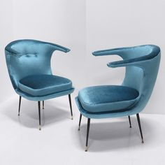 Italian Easy Chairs. Pair of blue chairs