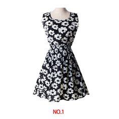 womens girls summer pleated Knee-length dress sleeveless 18 styles colorful flower design