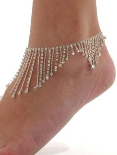 Rhinestone Anklet Bracelet Austrian Crystal Silver Tone Beads Ankle Clear $17