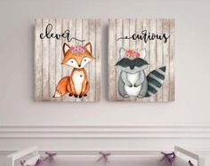 Woodland animals set Fox picture Woodland theme decor by EllowDee Woodland Theme, Woodland Baby, Woodland Nursery, Woodland Animals, Fox Nursery, Nursery Art, Girl Nursery, Nursery Decor, Baby Shower Themes