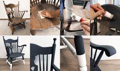 Pimp je oude meubels (zoals deze stoel) met Moodpaints Krijtverf (Ballroom Black & Whispering White)!